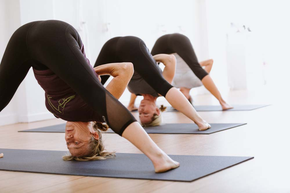 yoga students in an inverted yoga pose