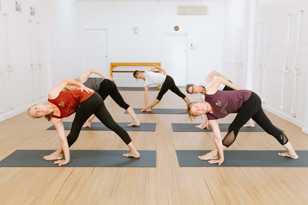 yoga students in a standing pose